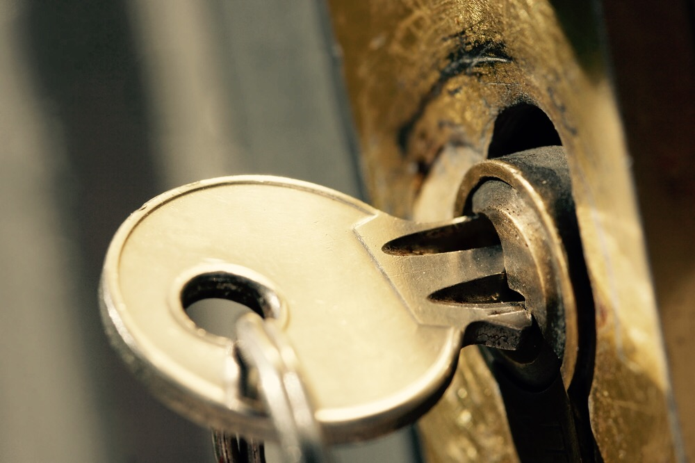 Closeup of a key in the lock