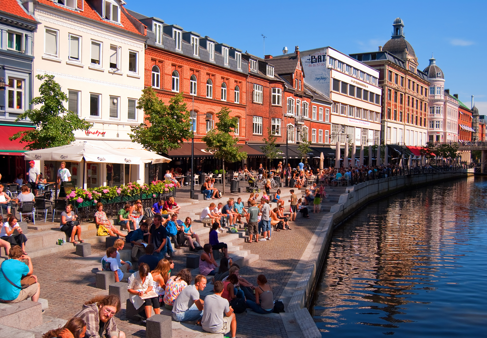 A popular drinking and eating area in the danish city of Aarhus.